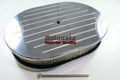 "Polished 12"" Ball Milled Aluminum Oval Air Cleaner Breather Chevy Ford SBC BBC"