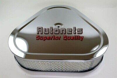 "14""x3"" Chrome Triangular Triangle Air Cleaner Filter Chevy Ford Mopar SBC BBCRod"