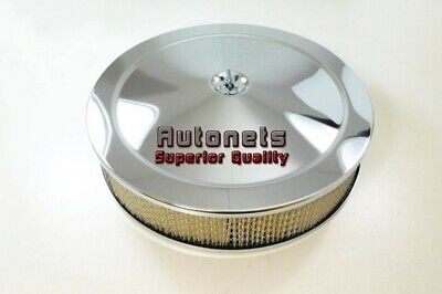 """14"""" Round Chrome Muscle Car Air Cleaner street Hot Rod Breather Flat Base Kit"""