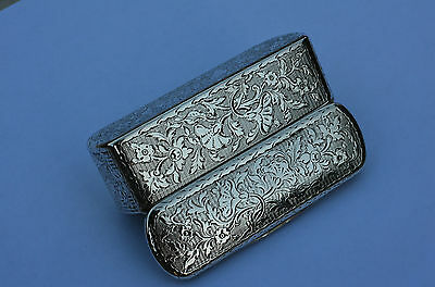 ANTIQUE 19th C. SOLID SILVER SNUFF BOX - AUSTRIAN - HAND CHASED DETAIL - RARE