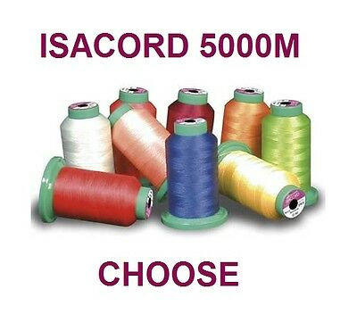 LARGE 5000m ISACORD MACHINE EMBROIDERY THREAD STRONG POLY 12 Colours to Choose