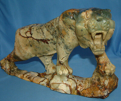 Vintage Tiger Cat, Carving, Jade or Serpentine - Large 16 inches