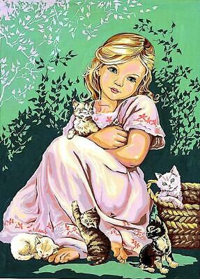 SEG de Paris Tapestry/Needlepoint Canvas – Girl with Cats (Fillette aux chats)