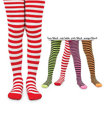 Jefferies Stripe Striped Footed Tights Ages 2-10 Hot Pink Lime Orange Black Red