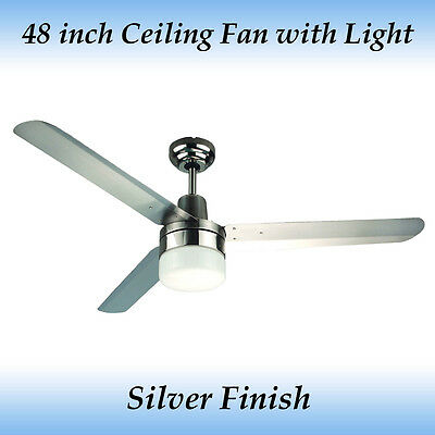 Sparky 48 inch (1200mm) 3 Blade Silver Stainless Steel Ceiling Fan with Light