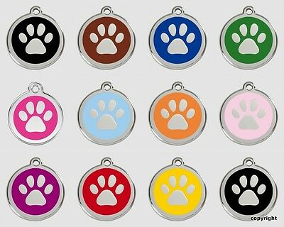 Red Dingo Stainless Steel And Enamel Dog Tag Paw Print Free Engraving Free P&p