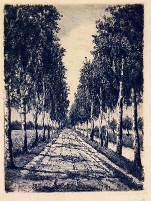 Unknown Unidentified 1900? Europe landscape etching   grove signed