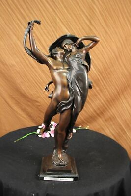 "24"" Tall BRONZE & MARBLE ART DECO DANCING GIRL FIGURINE FIGURE SCULPTURE STATUE"