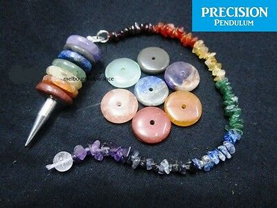 7 Chakra Wheels of Life Crystal Gemstone Precision Pendulum with Chips Chain