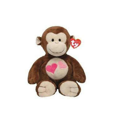 Ty Beanie Babies 32133 Pluffies Baby Safe Lovesy the Brown Monkey with Heart