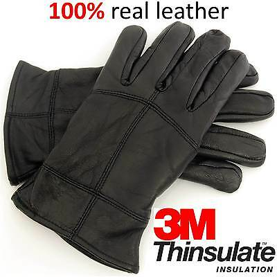 Mens Thinsulate Warm Winter Quality Thermal Walking Outdoor Leather Gloves