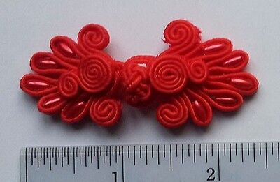6 pairs red beaded Chinese Frogs Closure buttons bohemian zen fashion sewing