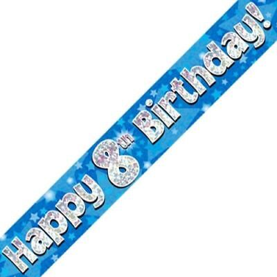 AGE 8 ' HAPPY BIRTHDAY ' PARTY BANNER - HOLOGRAPHIC  - 8th BLUE BOY - NEW