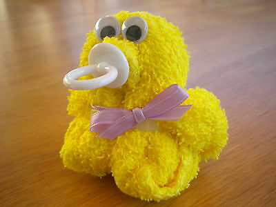 Duck Ducky Washcloth Baby Shower Favors with pacifier