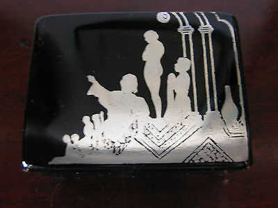 Vtg Antique Likely French Art Deco Opaline Black Glass Box w/ Figure Decoration