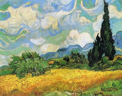Dream-art Oil painting Wheat-Field-with-Cypresses-(1889)-Vincent-van-Gogh art