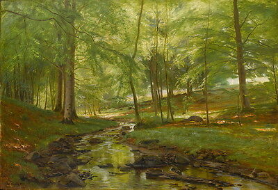 Oil painting nice summer forest landscape with brook handpainted on canvas