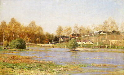 Fine Oil painting the village next to the river with trees in autumn landscape