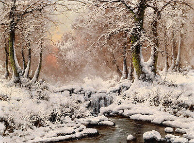 Dream-art Oil painting stunning winter landscape - snow with brook forest canvas