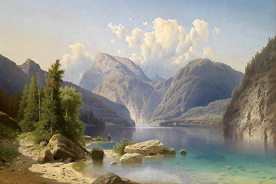Huge Oil painting wonderful landscape mountains around the river in summer view