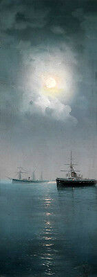 """Large art Oil painting nice seascape - ship at moon night on ocean canvas 20""""x40"""
