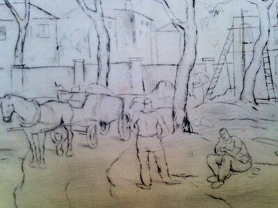 Unknown Unidentified 1920' Europe Expressionist etching German Construction