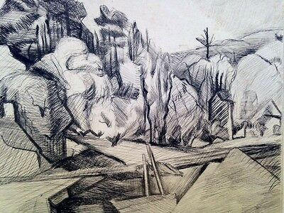 Unknown Unidentified 1920' Europe landscape etching  etching Expressionism