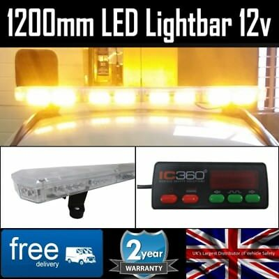 LED Amber Light Bar Strobe Beacon Recovery Warning - 120cm 1200mm 1.2 Metre 48""