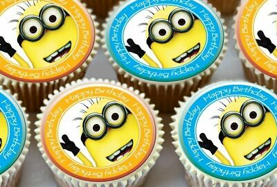 24 x DESPICABLE ME BIRTHDAY MIXED EDIBLE CUPCAKE TOPPERS PREMIUM RICE PAPER 7065