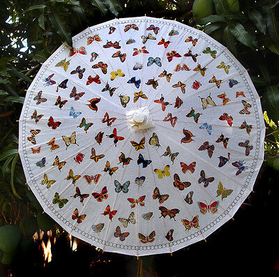 """32"""" Butterflies Parasol - made with rice paper & bamboo chinese umbrella"""