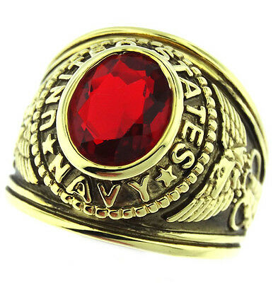 Mens Siam Red US Navy Military 18kt Gold Plated Ring