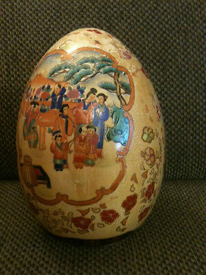 Vintage Large Hand Painted Royal Satsuma Egg