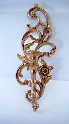 Art Deco Gold Ornate Candle Holder Wall Sconce Hollywood Regency Syroco 4531