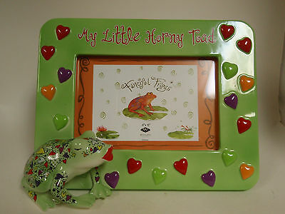 Picture frame frog ' my little horny toad' 4X6 ceramic new in box fast free ship