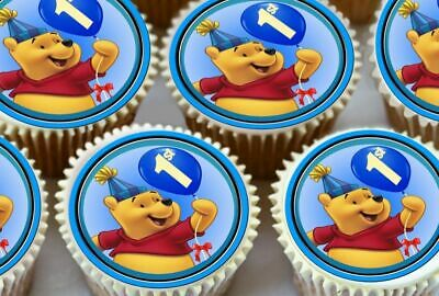 24 x WINNIE THE POOH 1ST BIRTHDAY EDIBLE CUPCAKE TOPPERS PREMIUM RICE PAPER 7077