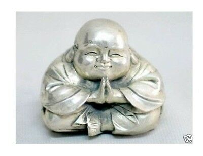 Chinese tibet silver carved happy buddha figurine