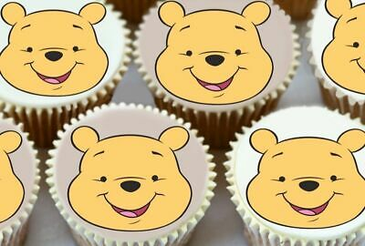 24 x WINNIE THE POOH EDIBLE CUPCAKE TOPPERS PREMIUM RICE PAPER 7085