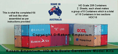 HO Scale Containers Mixed 16 x 20ft Model Railway Building Kit, HOC16