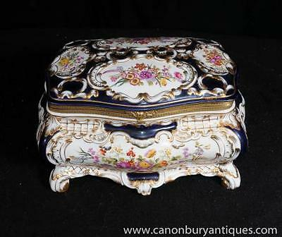 Sevres Porcelain Floral Spray Jewellery Box Casket Pottery