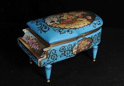 French Sevres Grand Piano Jewellery Box Floral Designs