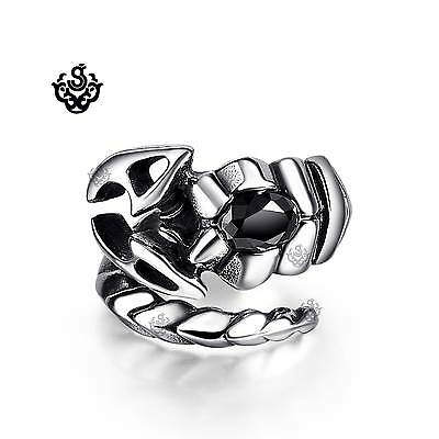 Silver scorpion ring black crystal solid stainless steel band