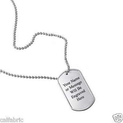 MILITARY DOG TAGS ID TAG CUSTOM US ARMY STYLE STAINLESS STEEL PERSONALISED FREE