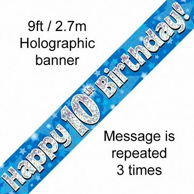 AGE 10 BANNER  ' HAPPY BIRTHDAY ' PARTY - HOLOGRAPHIC  - 10th BLUE BOY - NEW