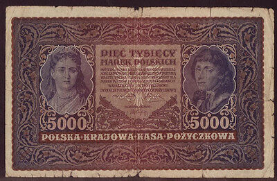Poland 5000 Marek 1920, II Series B 132539, Pick - 31, F