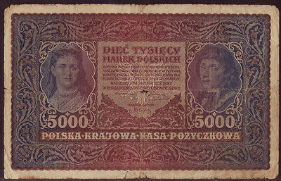 Poland 5000 Marek 1920, II Series X 727070, Pick - 31, F