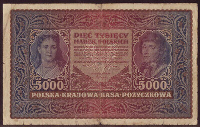 Poland 5000 Marek 1920, II Series J 207657, Pick - 31, F