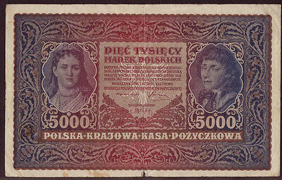 Poland 5000 Marek 1920, II Series S 381472, Pick - 31, aVF