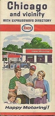 1966 ENCO HUMBLE OIL Road Map CHICAGO Illinois Route 66 Expressways Directory
