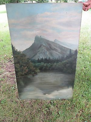 Large Antique Oil on Canvas Painting Signed KA Maclean Mountain Scene Adirondack