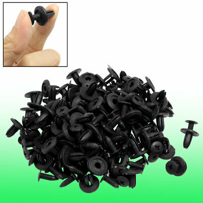 Auto Car Door Fender 6mm Hole Push Plastic Rivets Retainer Clips Black 100 Pcs